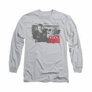 Sons Of Anarchy SOA Shirt Jax Block Long Sleeve Silver Tee T-Shirt