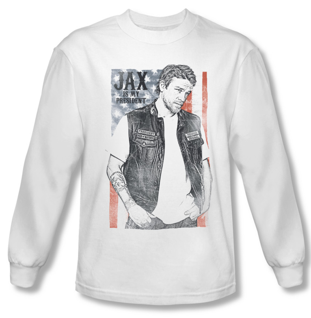 sons of anarchy shirt jax president long sleeve white tee. Black Bedroom Furniture Sets. Home Design Ideas