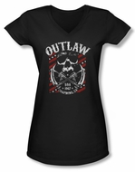 Sons Of Anarchy Shirt Juniors V Neck Outlaw Black Tee T-Shirt
