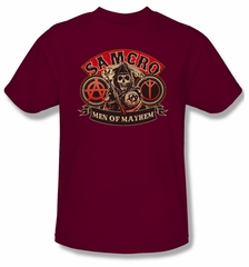 Sons Of Anarchy Shirt Men Of Mayhem Adult Cardinal Tee T-Shirt