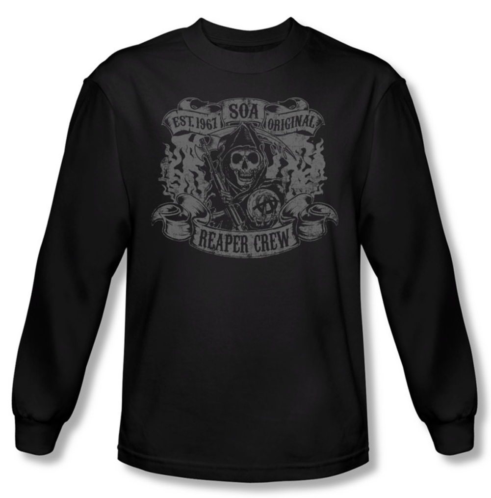 sons of anarchy shirt original reaper crew long sleeve. Black Bedroom Furniture Sets. Home Design Ideas