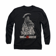Sons Of Anarchy Shirt Pile Of Skulls Long Sleeve Black Tee T-Shirt