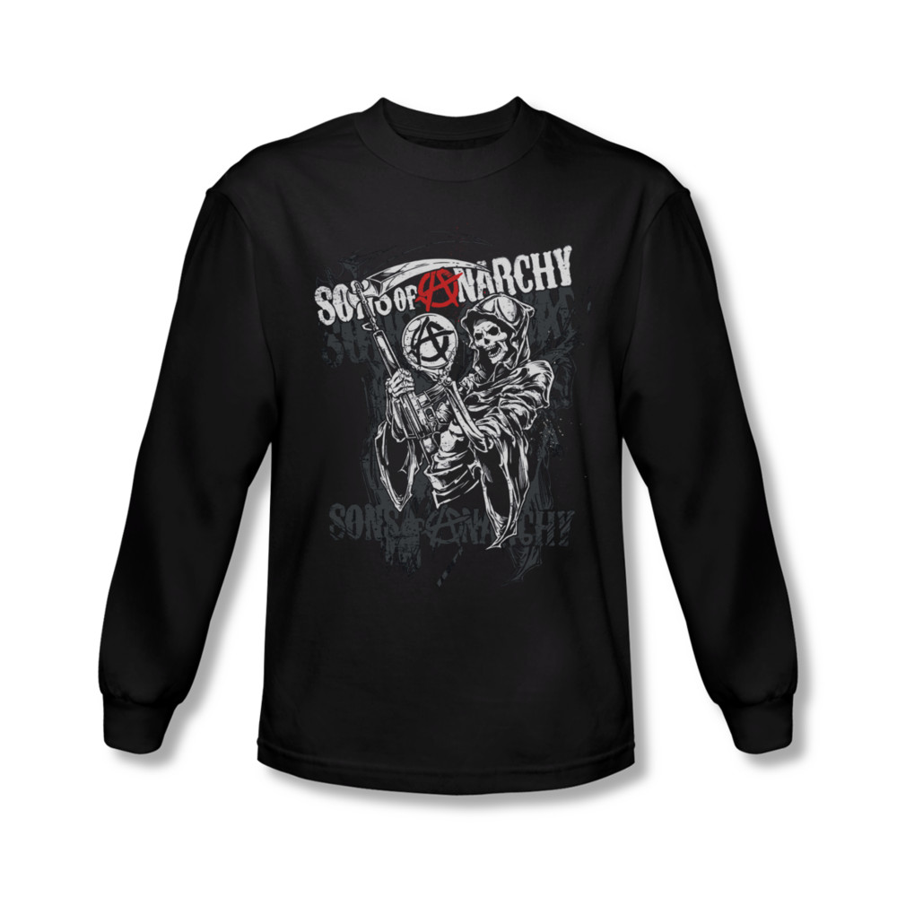 sons of anarchy shirt reaper logo long sleeve black tee t. Black Bedroom Furniture Sets. Home Design Ideas