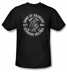 Sons Of Anarchy Shirt Redwood Originals Adult Black Tee T-Shirt