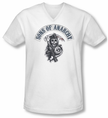 Sons Of Anarchy Shirt Slim Fit V Neck Bloody Sickle White Tee T-Shirt