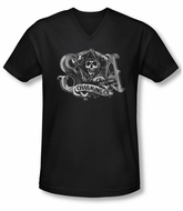 Sons Of Anarchy Shirt Slim Fit V Neck Charming Ca Black Tee T-Shirt
