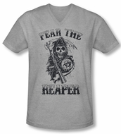 Sons Of Anarchy Shirt Slim Fit V Neck Fear The Reaper Grey Tee T-Shirt