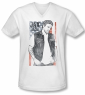Sons Of Anarchy Shirt Slim Fit V Neck Jax President White Tee T-Shirt