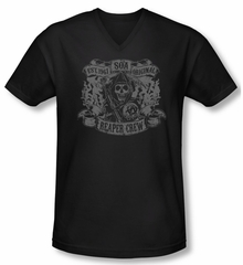 Sons Of Anarchy Shirt Slim Fit V Neck Original Reaper Crew Black Tee