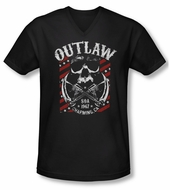 Sons Of Anarchy Shirt Slim Fit V Neck Outlaw Black Tee T-Shirt