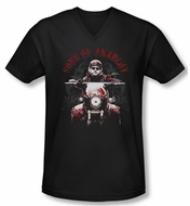 Sons Of Anarchy Shirt Slim Fit V Neck Ride On Black Tee T-Shirt