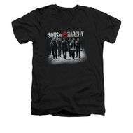 Sons Of Anarchy Shirt Slim Fit V Neck Rolling Deep Black Tee T-Shirt