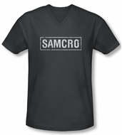 Sons Of Anarchy Shirt Slim Fit V Neck Samcro Charcoal Tee T-Shirt