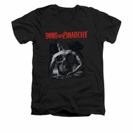 Sons Of Anarchy Shirt Slim Fit V Neck Skull Back Black Tee T-Shirt