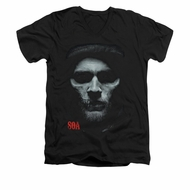 Sons Of Anarchy Shirt Slim Fit V Neck Skull Face Black Tee T-Shirt