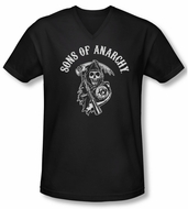 Sons Of Anarchy Shirt Slim Fit V Neck Soa Reaper Black Tee T-Shirt