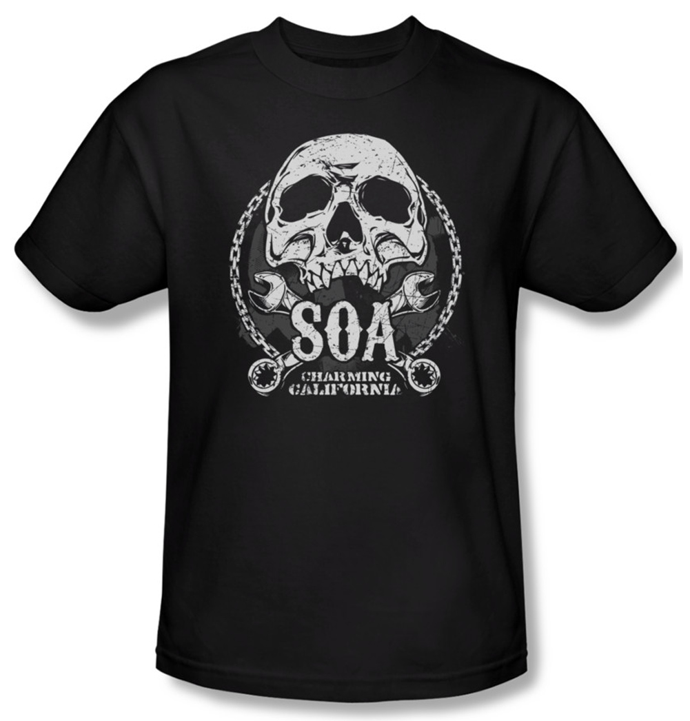 sons of anarchy shirt soa club adult black tee t shirt. Black Bedroom Furniture Sets. Home Design Ideas