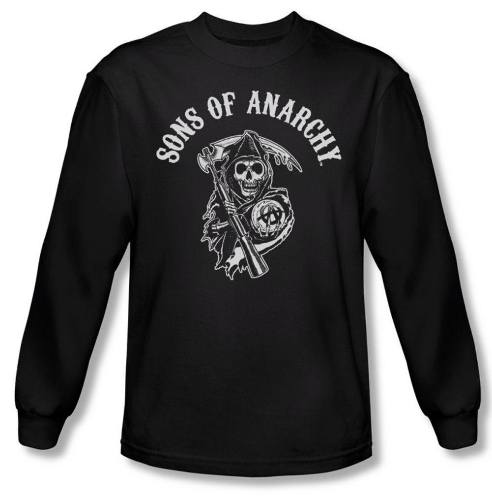 sons of anarchy shirt soa reaper long sleeve black tee t. Black Bedroom Furniture Sets. Home Design Ideas