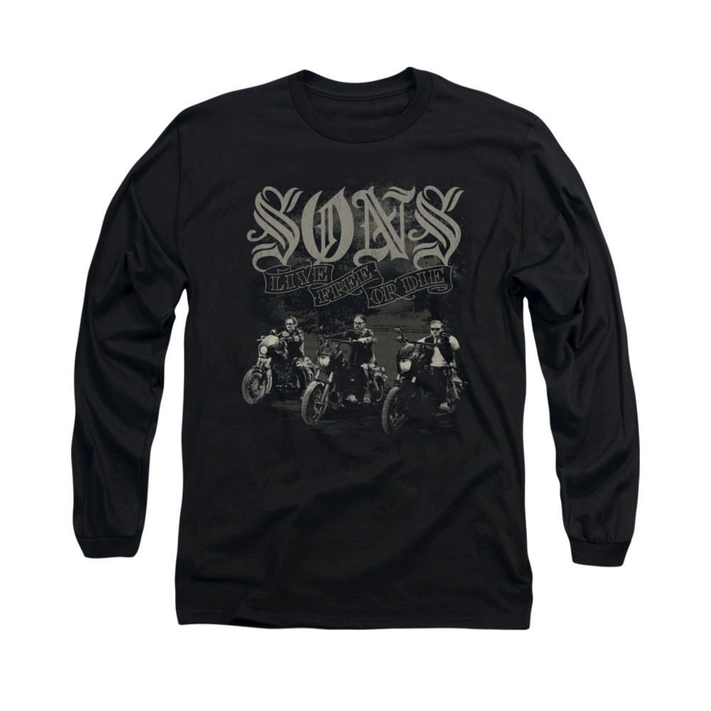 sons of anarchy shirt sons live free long sleeve black tee. Black Bedroom Furniture Sets. Home Design Ideas