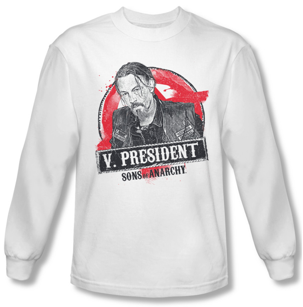 sons of anarchy shirt vice president long sleeve white tee. Black Bedroom Furniture Sets. Home Design Ideas