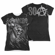 Sons Of Anarchy Somcro Reaper Sublimation Juniors Shirt Front/Back Print