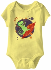 Space Dino Funny Baby Romper Yellow Infant Babies Creeper