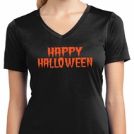 Spooky Happy Halloween Ladies Dry Wicking V-neck
