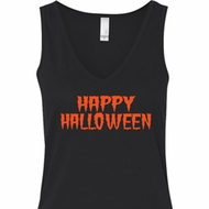 Spooky Happy Halloween Ladies Flowy V-neck Tank Top