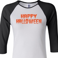 Spooky Happy Halloween Ladies Raglan Shirt