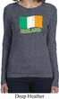St Patrick's Day Distressed Ireland Flag Ladies Long Sleeve Shirt