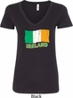 St Patrick's Day Distressed Ireland Flag Ladies V-Neck Shirt