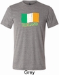 St Patrick's Day Distressed Ireland Flag Mens Tri Blend Crewneck Shirt