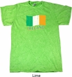 St Patrick's Day Distressed Ireland Flag Mineral Tie Dye Shirt