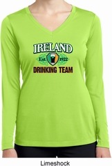 St Patrick's Day Ireland Drinking Team Ladies Dry Wicking Long Sleeve
