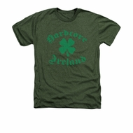 St. Patrick's Day Shirt Hardcore Ireland Adult Heather Military Green Tee T-Shirt