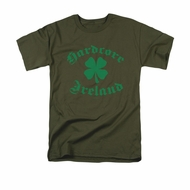 St. Patrick's Day Shirt Hardcore Ireland Adult Military Green Tee T-Shirt