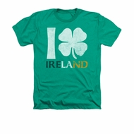 St. Patrick's Day Shirt I Love Ireland Adult Heather Green Tee T-Shirt