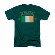 St. Patrick's Day Shirt Ireland Flag Adult Hunter Green Tee T-Shirt