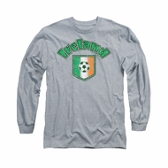 St. Patrick's Day Shirt Ireland With Soccer Flag Long Sleeve Grey Tee