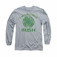 St. Patrick's Day Shirt Irish Wish Long Sleeve Athletic Heather Tee T-Shirt