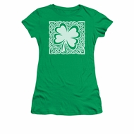 St. Patrick's Day Shirt Juniors Celtic Clover Kelly Green Tee T-Shirt