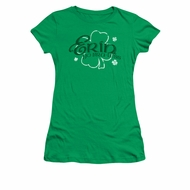 St. Patrick's Day Shirt Juniors Erin Go Braless Kelly Green Tee T-Shirt