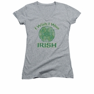 St. Patrick's Day Shirt Juniors V Neck Irish Wish Athletic Heather Tee T-Shirt