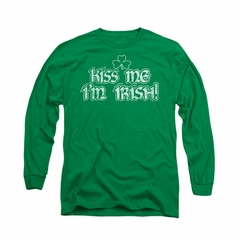 St. Patrick's Day Shirt Kiss Me I'm Irish Long Sleeve Kelly Green Tee T-Shirt