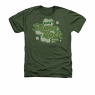 St. Patrick's Day Shirt Lucky's Shamrock Adult Heather Green Tee T-Shirt