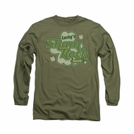 St. Patrick's Day Shirt Lucky's Shamrock Long Sleeve Green Tee T-Shirt