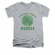 St. Patrick's Day Shirt Slim Fit V Neck Irish Wish Athletic Heather Tee T-Shirt