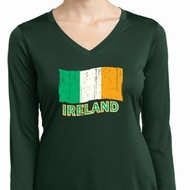 St Patrick's Distressed Ireland Flag Ladies Dry Wicking Long Sleeve