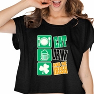 St Patricks Day Eat Drink Be Irish Ladies Boxy Tee