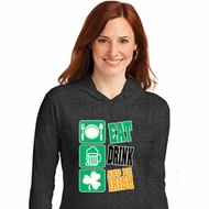 St Patricks Day Eat Drink Be Irish Ladies Long Sleeve Hooded Shirt
